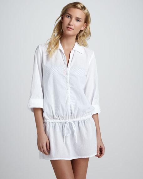 Drawstring Button-Down Tunic, White