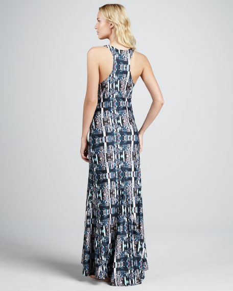 Printed Scoop-Neck Maxi Dress