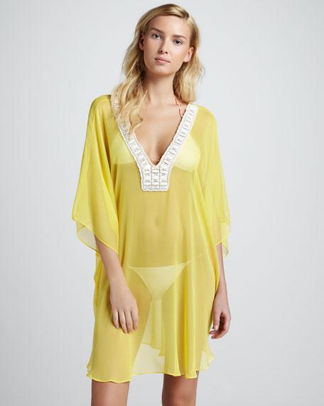 Beverly Sheer Chiffon Coverup, Yellow