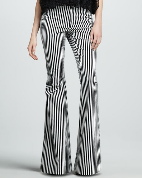 Striped Bell-Bottom Pants