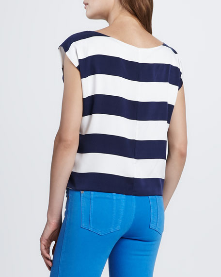 Lincoln Striped Cap-Sleeve Top