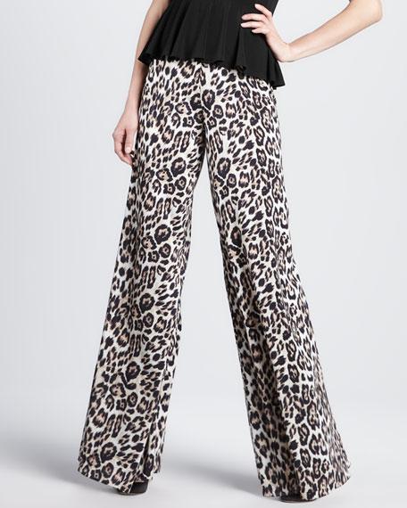 Leopard-Print Wide-Leg Pants