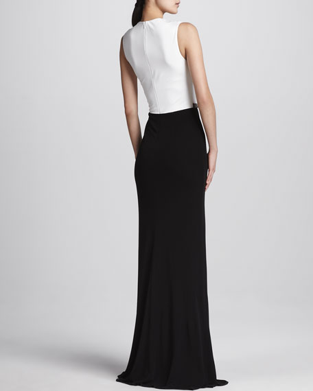 Two-Tone Drape-Neck Gown