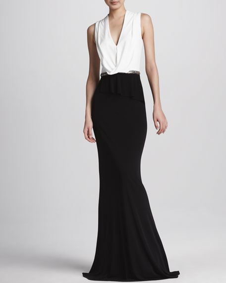 Two-Tone Drape-Neck Gown