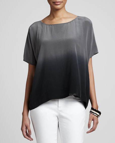 Ombre Wedge Silk Top, Petite