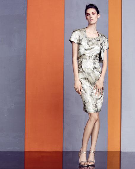 Floral-Jacquard Dress with Bolero
