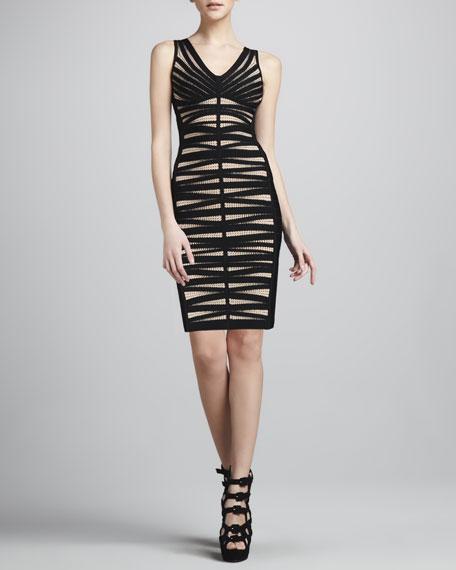 Dotted V-Neck Bandage Dress