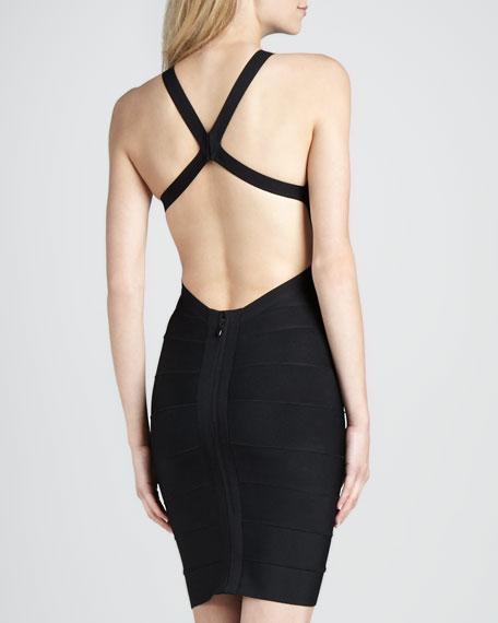 Open-Back Scoop-Neck Bandage Dress