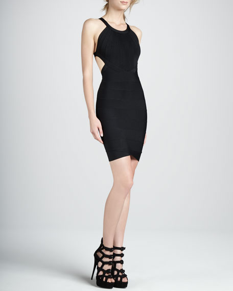 Open-Back Scoop-Neck Bandage Dress