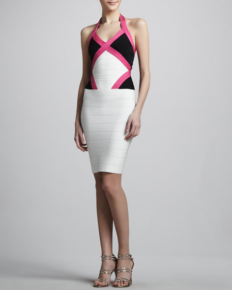 Colorblock Halter Bandage Dress