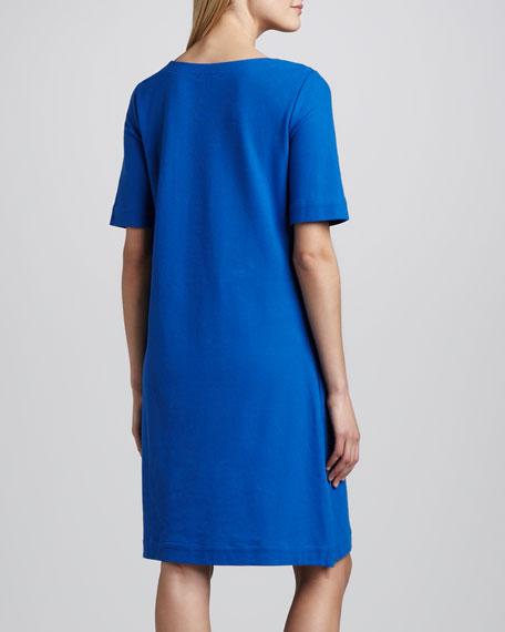 Pique Lace-Up Shift Dress