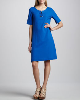 Joan Vass Pique Lace-Up Shift Dress