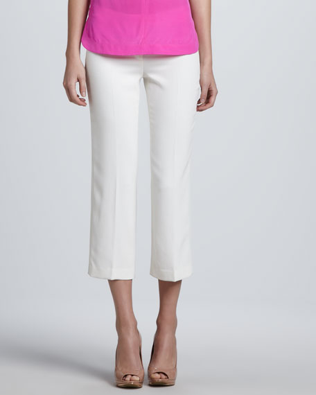 Crepe Straight Ankle Pants