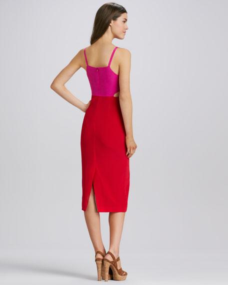 Cutout Colorblock Dress, Magenta/Red