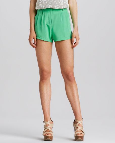 High-Waist Silk Shorts