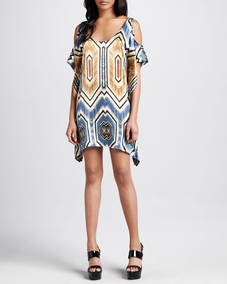 Hatton Tribal Cold-Shoulder Dress