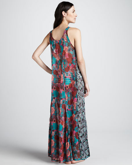 Mixed-Print Maxi Dress
