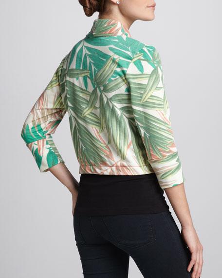 Tropical-Print Fleece Blazer