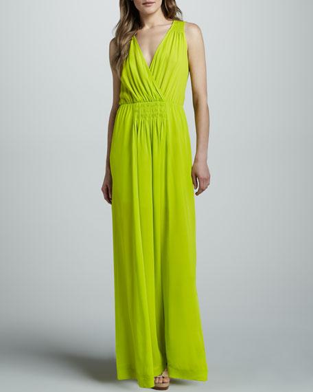 Smocked Surplice Maxi Dress