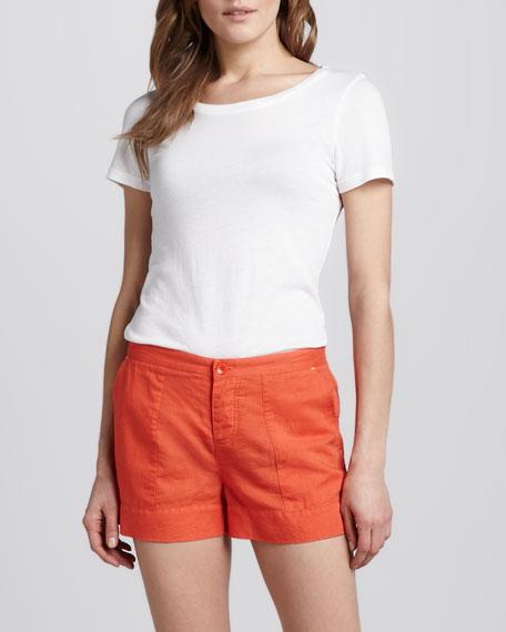 Relaxed Twill Shorts, Orange