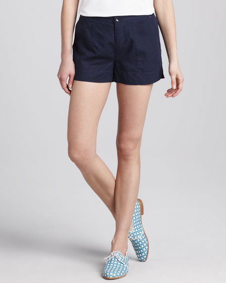 Relaxed Twill Shorts, Navy