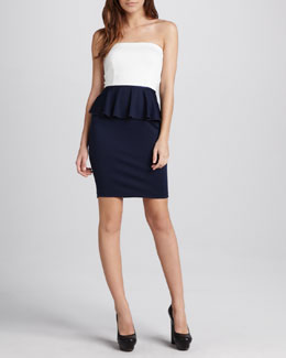 Charles Henry Colorblock Peplum Dress