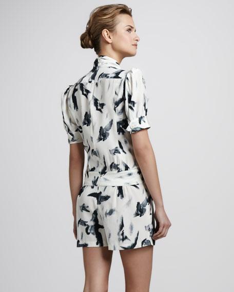 Printed Silk Short Jumpsuit