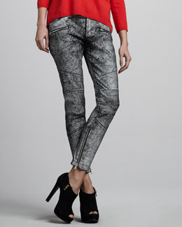 Skaist Taylor Cracked Leather Moto Pants