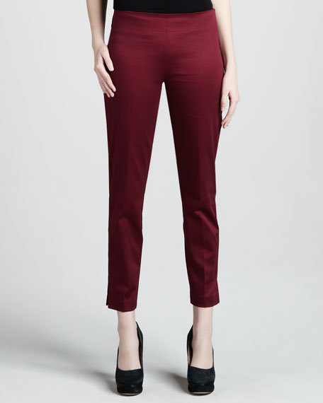 Cropped Side-Zip Pants, Crimson