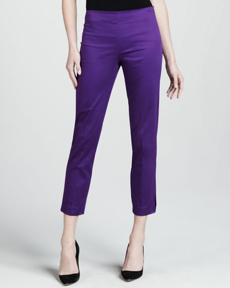 Cropped Side Zip Pants, Iris