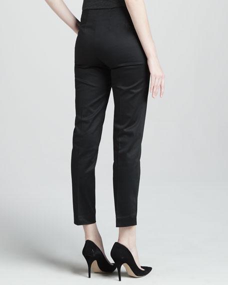 Cropped Side Zip Pants, Black