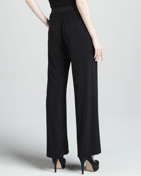 Wide-Leg Jersey Pants, Black