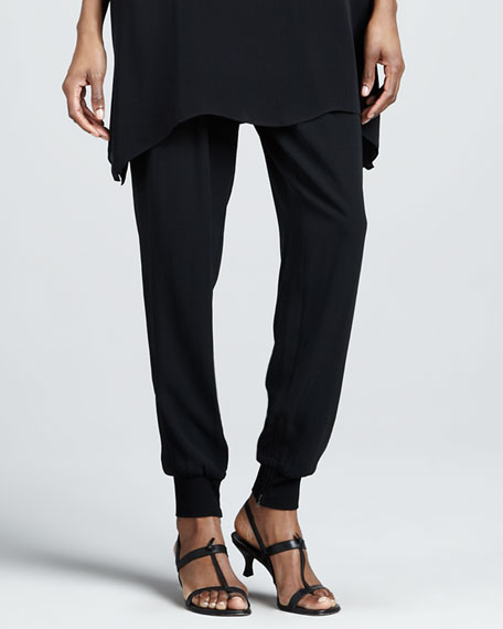 Cuffed Silk Georgette Ankle Pants