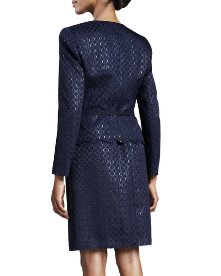 Lattice-Jacquard Skirt Suit