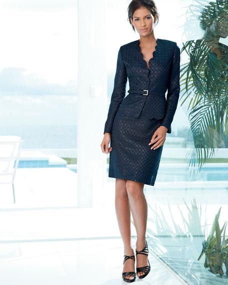 Lattice-Jacquard Skirt Suit