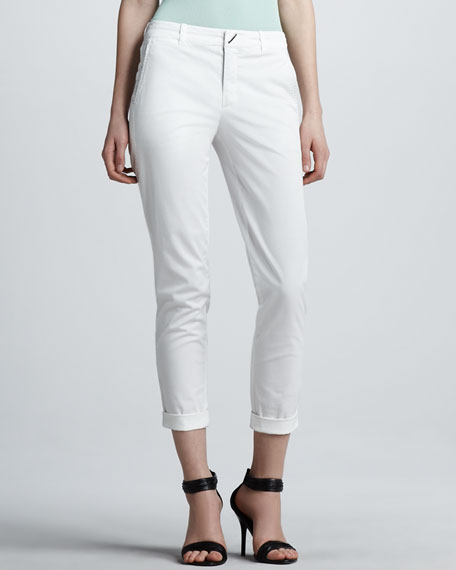 Fitted Cropped Twill Pants, White
