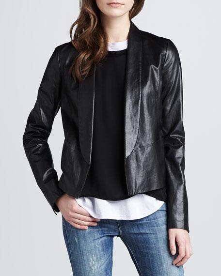 Shawl Collar Leather Jacket