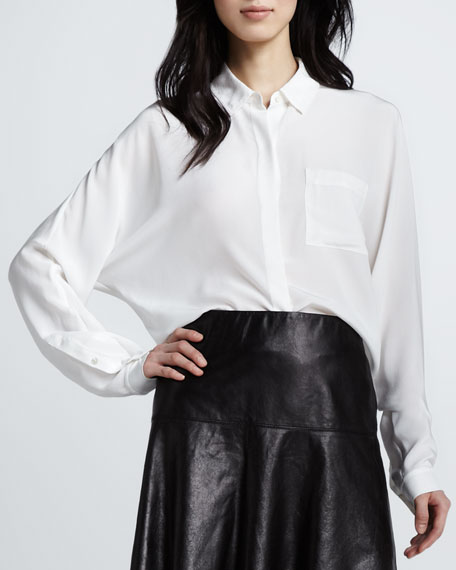 Silk Batwing-Sleeve Blouse