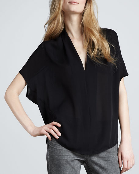 Silk Drape-Neck Top, Black