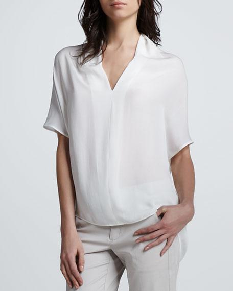 Silk Drape-Neck Top