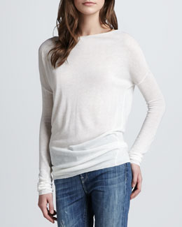 Vince Lightweight Boat-Neck Sweater