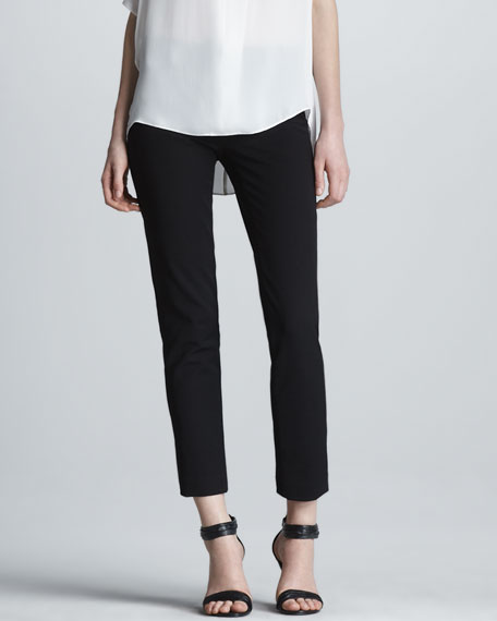 Cropped Slim Twill Trousers