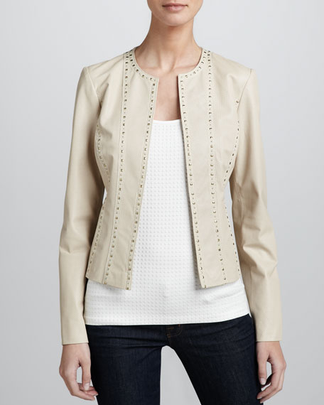 Studded Perforated Leather Jacket