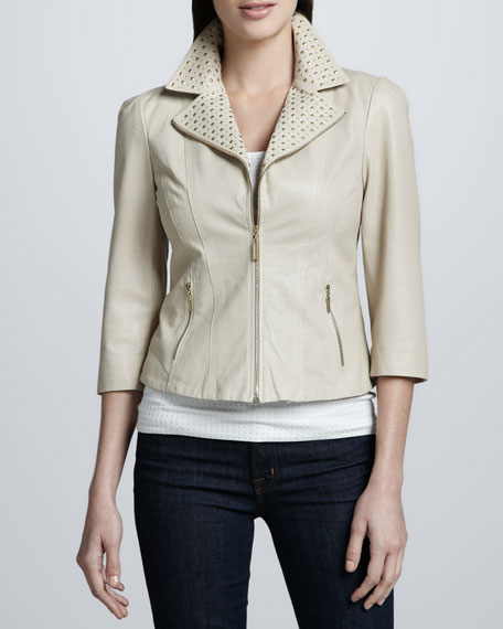 Stud-Collar Perforated Leather Jacket