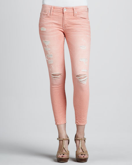 Fisk Destroyed Cropped Jeans, Orange