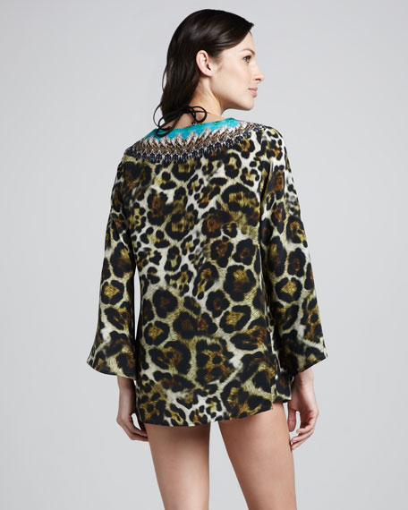 Minotaure Beaded Leopard-Print Coverup