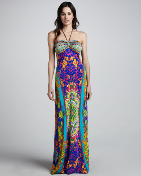 Courtesan Printed Tube Maxi Dress
