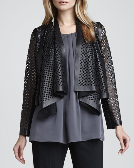 Perforated Leather Draped Jacket