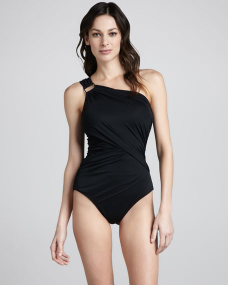 Whittle Waistline One-Shoulder One-Piece