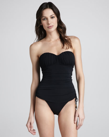Sultry Sweetheart Bandeau One-Piece, Black